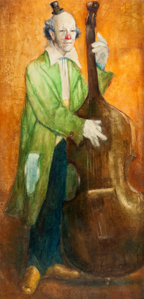 Clown Playing Double Bass