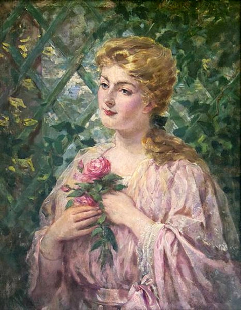 A Woman Holding A Rose