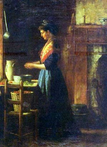 A Woman Shelling Peas