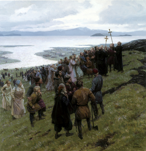 Christian Clergy Preaching To A Norse Settlement
