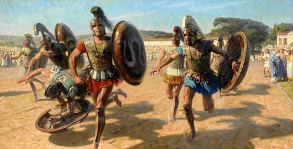 Greek Contestants Wearing Heavy Armor Race For Fame And Olive Wreath