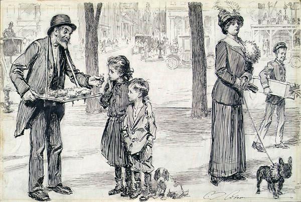 Her Favorite Flower - Man Selling Nosegays On The Street