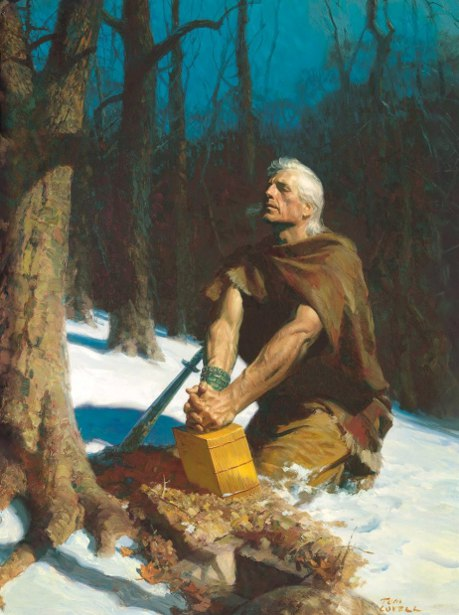 Moroni Hiding The Sealed Records In The Hill Cumorah