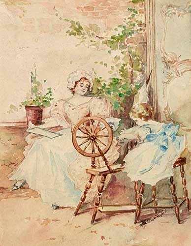 Mother And Child At Spinning Wheel