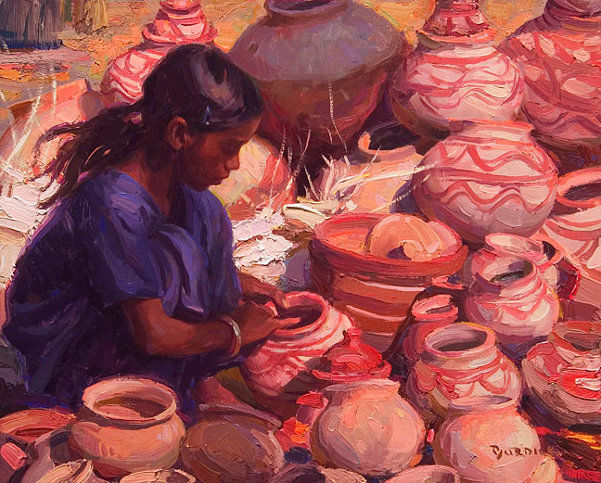 Selling Pottery, India
