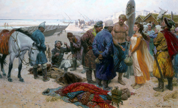 Viking Selling A Slave Girl To A Persian Merchant