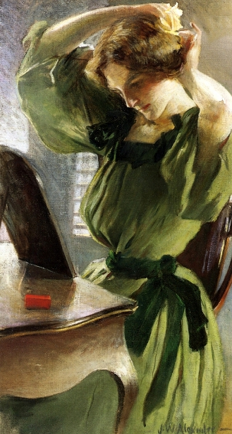 Young Woman Arranging Her Hair
