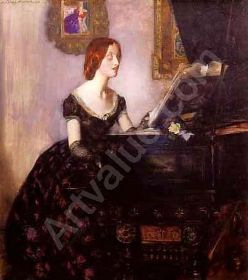 John Young Hunter (1874 – 1955) At The Piano - Portrait Of The Artist's First Wife, Mary Hunter