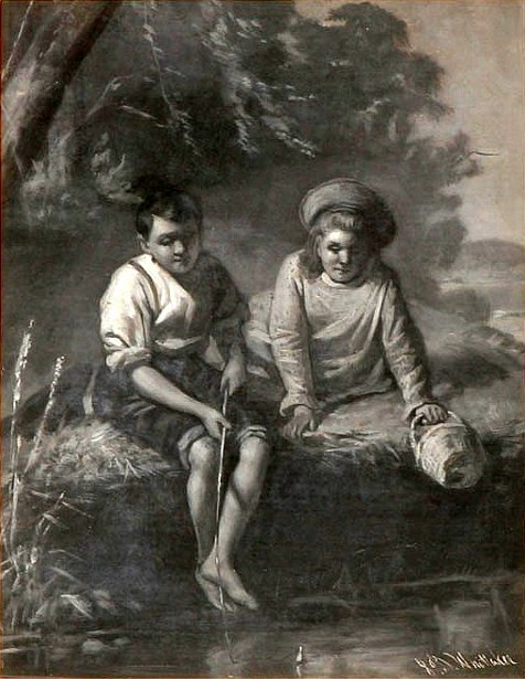Children Fishing On A Summer Day