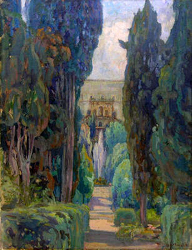 Landscape With Cypress Trees And A Villa