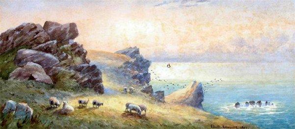 John Elliot  Looking Westward On The Headland Newquay