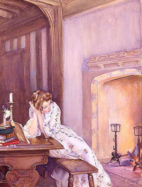 John Young Hunter (1874 – 1955) Musing By Giffords' Fireside