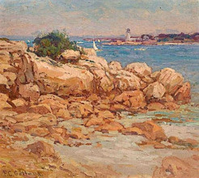 Rocky Coastline With Sailboat And Lighthouse In The Distance
