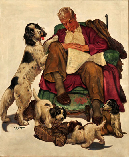 Sleeping Grandfather Surrounded by Four Dogs
