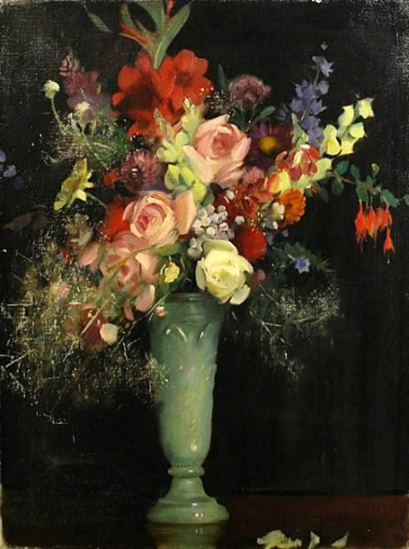 John Young Hunter (1874 – 1955) Vase Of Summer Flowers
