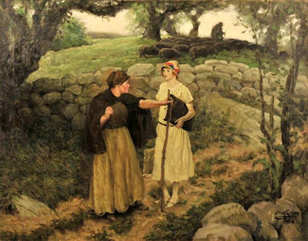 Edmund Franklin Ward (1892 – 1990) Woman With Sheep