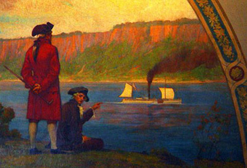 The First Passage Of The Steamer Clermont On The Hudson River (detail)