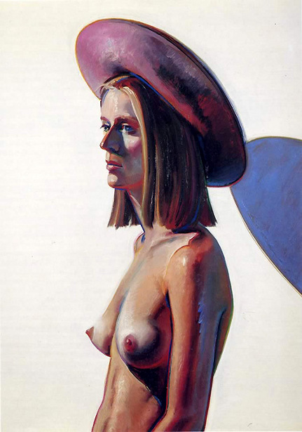 Nude Woman In Purple Hat - Girl With Pink Hat
