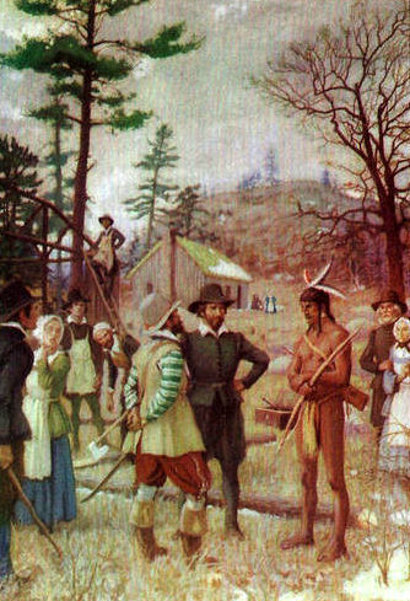 Samoset Bids The Pilgrims Welcome At Plymouth, 1621