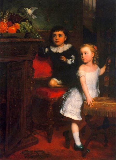 Two Children Watching The White Dove
