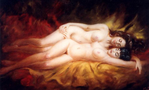 Two Reclining Nude Ladies