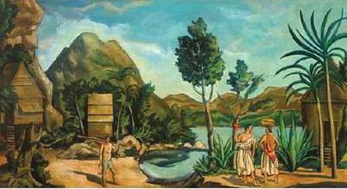A Tropical Landscape With Figures