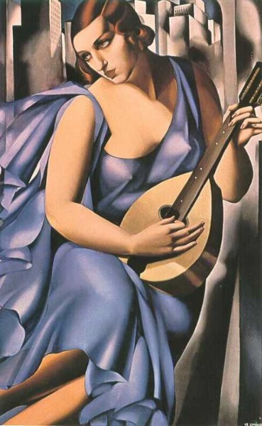 Blue Woman With Guitar - Woman In Blue With Mandolin - The Musician