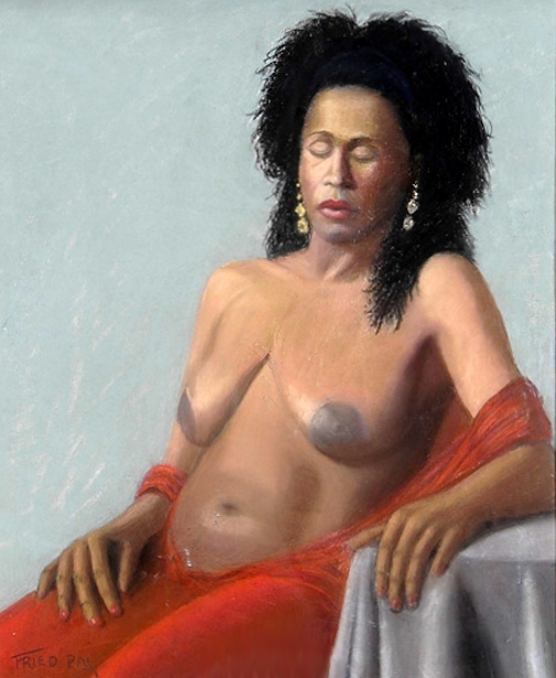 Nude With Red Shawl