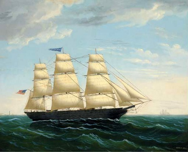 The American Three-Master Sarah G. Hyde Off A Lighthouse
