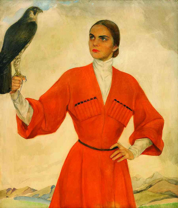 An Elegant Lady Dressed As A Cossack And Holding A Hunting Falcon