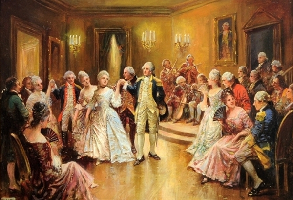 George Washington Dancing The Minuet With Nellie Curtis In His Mount Vernon Home