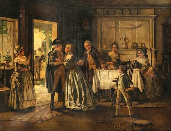 Historical Scene Of A Militiaman Leaving His Family