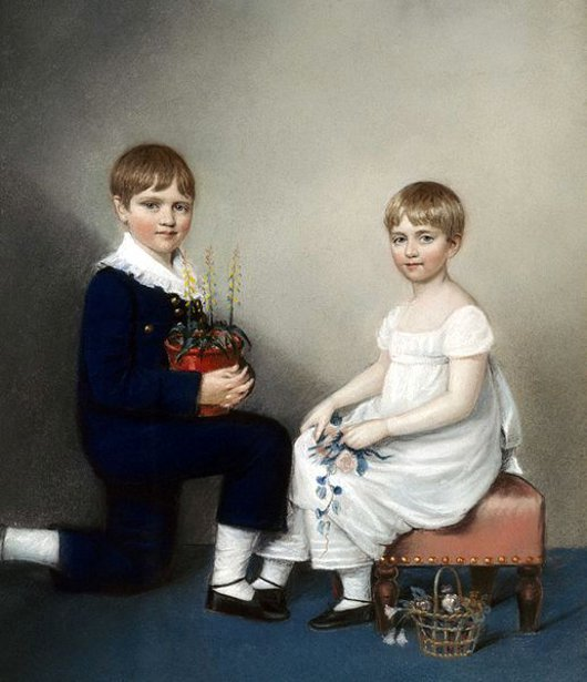 Charles Darwin At Age Six With His Sister Catherine