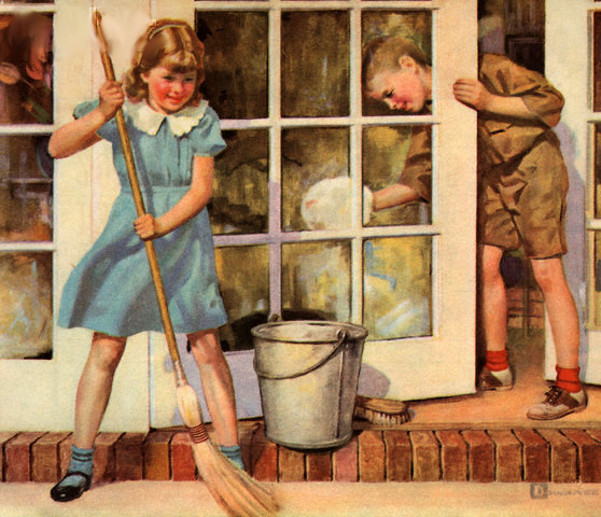 Children Spring Cleaning