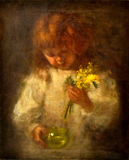 Girl With Bouquet Of Flowers