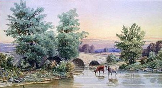Landscape With Cows And Bridge