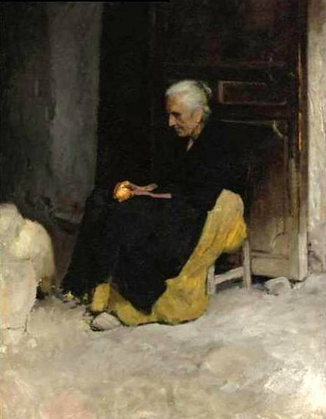 Old Woman Peeling An Orange