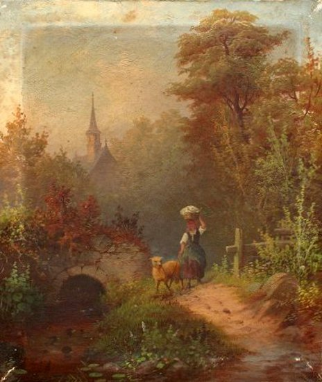 Peasant Girl With Sheep