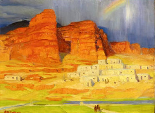 Pueblos, Mountains And Rainbow
