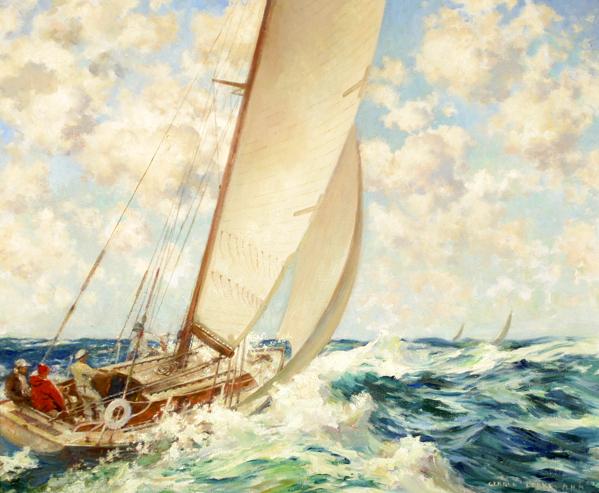 Sailboat At Sea On Choppy Water