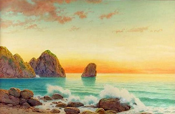 Seascape With Sunrise And Rocks