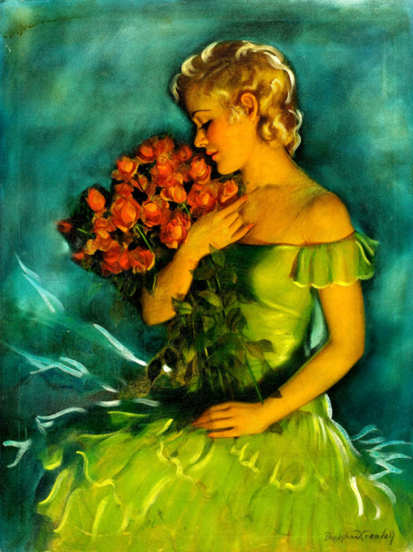 Blonde With Red Roses
