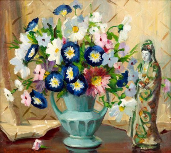 Still Life Of Flowers And Oriental Figurine