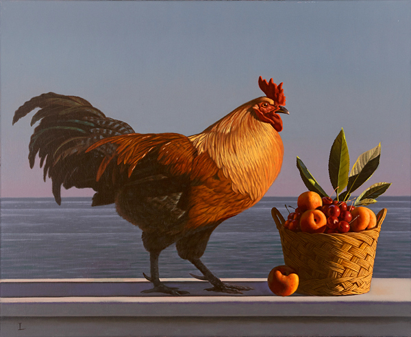 Still Life WIth Rooster And Fruit