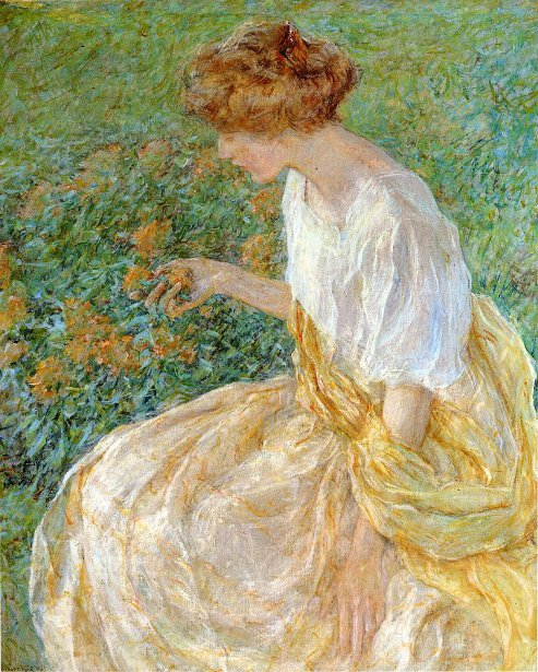 The Yellow Flower - The Artist's Wife In The Garden
