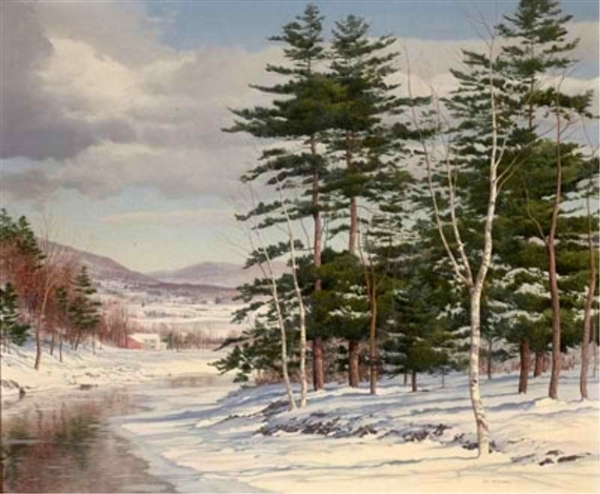Winter Landscape With Distant Village