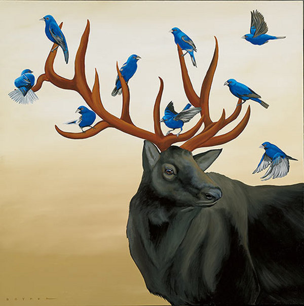 Black Elk With Blue Birds