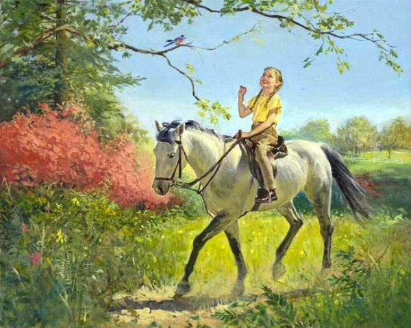 Girl On Horseback In Spring