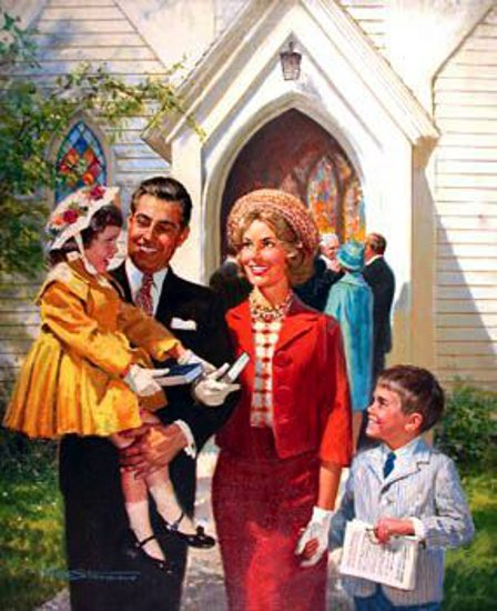Happy Family Leaving Church