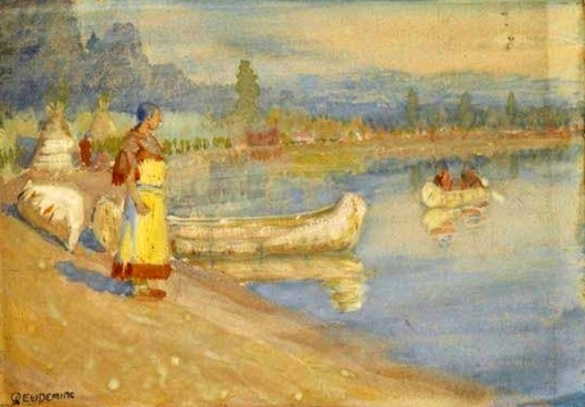 River Scene With Native Americans And Canoes